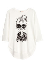 Jersey top with a motif - Natural white - Kids | H&M CN 2