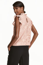 Lace top with frilled sleeves - Powder beige -  | H&M CN 4