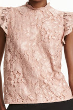 Lace top with frilled sleeves - Powder beige -  | H&M CN 3
