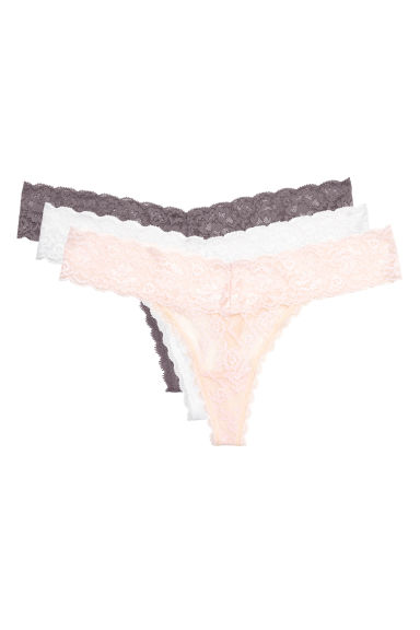 3-pack lace string briefs - Mole - Ladies | H&M CN 1
