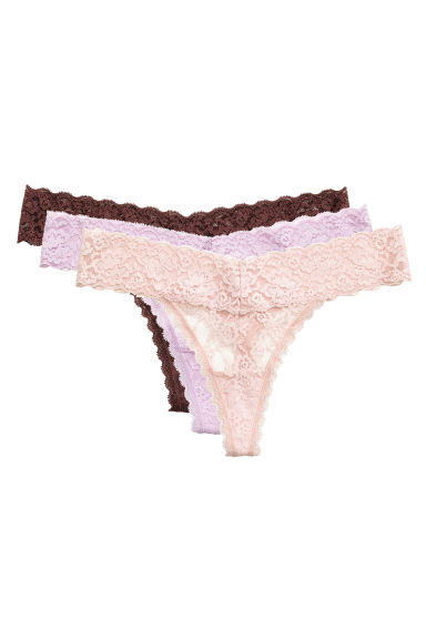 3-pack lace string briefs - Brown - Ladies | H&M CN 1