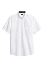 Short-sleeved cotton shirt - White/Spotted - Men | H&M CN 2