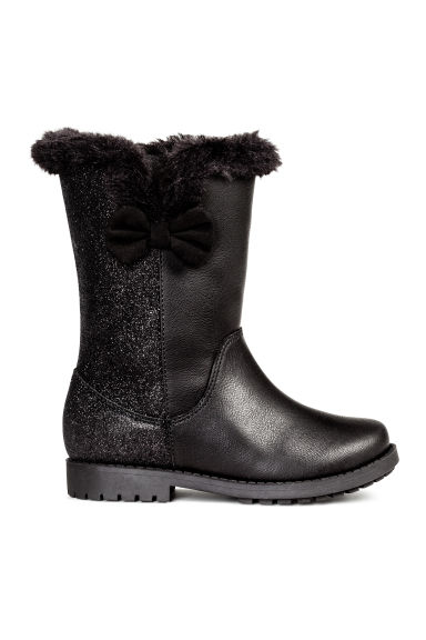 Warm-lined boots - Black/Glitter - Kids | H&M CN