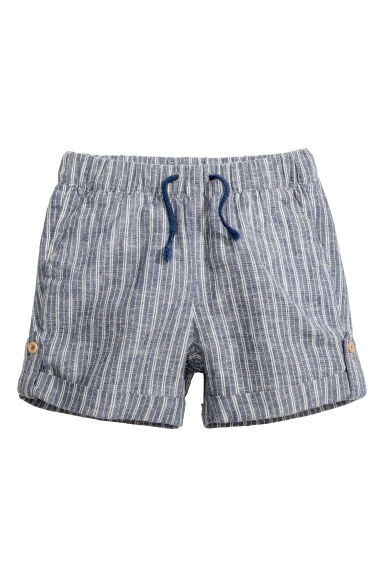 Shorts in a linen blend - Dark blue/Striped - Kids | H&M CN 1