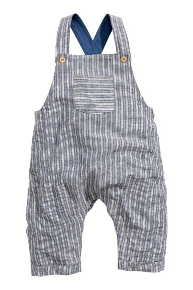 Dungarees in a linen blend - Dark blue/Striped - Kids | H&M CN 1