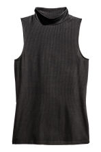 Ribbed turtleneck top - Black -  | H&M CN 2