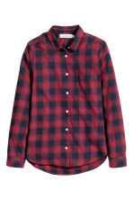 Cotton shirt - Dark red/Checked - Ladies | H&M CN 2