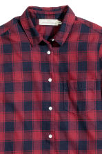 Cotton shirt - Dark red/Checked - Ladies | H&M CN 3