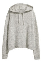 Knitted hooded jumper - Light grey marl - Ladies | H&M GB 2