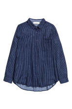Camicia in cotone - Blu scuro/righe - DONNA | H&M IT 2