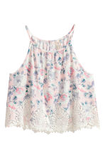 Top fantasia con pizzo - Rosa cipria/fiori - DONNA | H&M IT 2