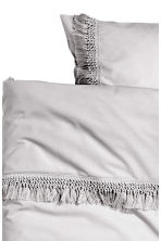 Duvet cover set with fringes - Light grey - Home All | H&M CN 3