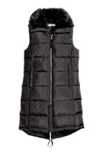 Padded gilet with faux fur - Black - Ladies | H&M CN 2