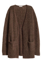 Mohair-blend cardigan - Dark brown marl -  | H&M CN 2