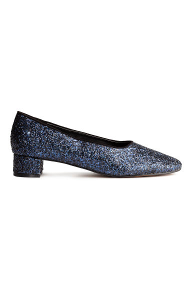 Block-heeled court shoes - Dark blue/Glitter - Ladies | H&M CN 1