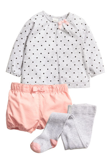3-piece set - Light grey/Spotted - Kids | H&M CN 1