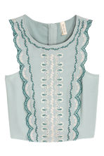 Embroidered blouse - Mint green - Ladies | H&M CN 2