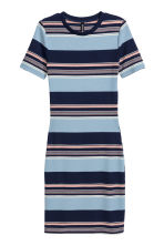 Ribbed jersey dress - Blue/Wide striped - Ladies | H&M CN 2