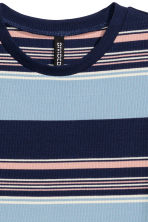 Ribbed jersey dress - Blue/Wide striped - Ladies | H&M CN 3