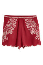 Short met borduursel - Donkerrood - DAMES | H&M BE 2