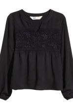 Blouse with lace - Black - Kids | H&M CN 3