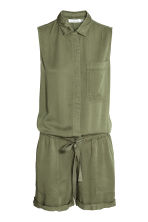 Sleeveless playsuit - Khaki green - Ladies | H&M CN 2
