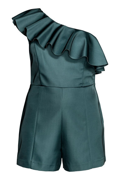 H&M+ One-shoulder playsuit - Petrol - Ladies | H&M IE 1