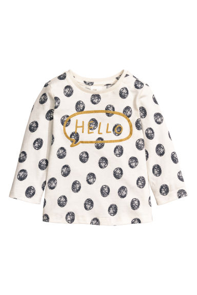 Long-sleeved top - Nat. white/Spotted - Kids | H&M CN 1