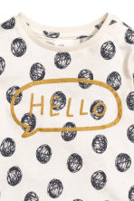 Long-sleeved top - Nat. white/Spotted - Kids | H&M CN 2