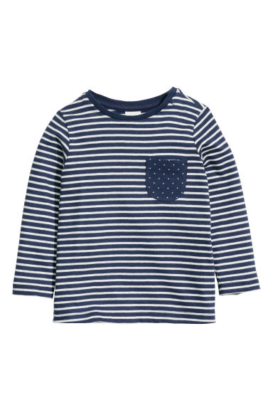 Long-sleeved top - Dark blue/Striped -  | H&M CN 1