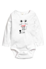 Long-sleeved bodysuit - White/Mouse - Kids | H&M CN 1