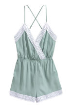 Playsuit with lace - Dusky green -  | H&M IE 3
