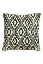 Patterned cushion cover - Natural white/Moss green - Home All | H&M CA 2