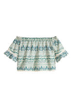 Off-the-shoulder blouse - Natural white/Green - Ladies | H&M CN 1