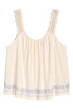Top with lace shoulder straps - Natural white - Ladies | H&M CN 2