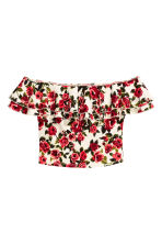 Off-the-shoulder top - Natural White/Red floral  - Ladies | H&M CN 2