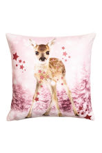Printed cushion cover - Light pink/Roe deer - Home All | H&M CN 2