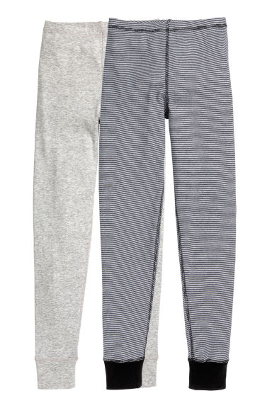 2-pack longjohns - Black/Striped -  | H&M CN 1