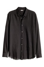 Flannel shirt with raw edges - Black - Men | H&M GB 2
