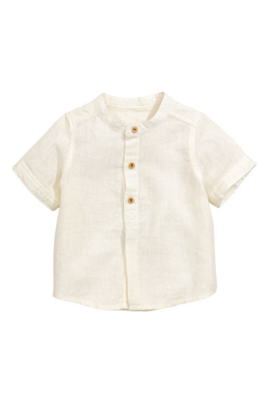 Shirt in a linen blend - Natural white - Kids | H&M CN