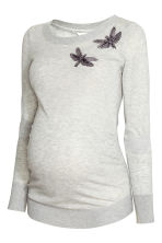 MAMA Fine-knit jumper - Light grey marl - Ladies | H&M CN 2
