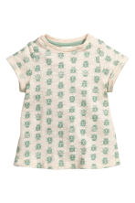 Patterned slub jersey dress - Light beige/Ladybirds - Kids | H&M CN 1