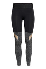 Seamless sports tights - Grey marl/Black - Ladies | H&M CN 2