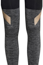 Seamless sports tights - Grey marl/Black - Ladies | H&M CN 4