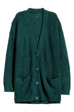 Chunky-knit cardigan - Emerald green - Ladies | H&M CN 2