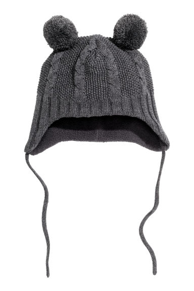 Fleece-lined hat - Dark grey marl - Kids | H&M CN 1