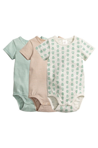 3-pack short-sleeved bodysuits - Mint green/Striped - Kids | H&M CN 1