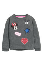 Printed sweatshirt - Dark grey/Minnie Mouse -  | H&M CN 2