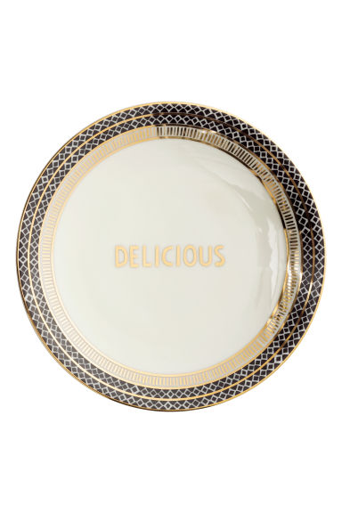 Small porcelain plate - White/Text - Home All | H&M GB 1