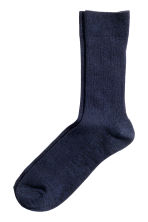 Ribbed socks - Dark blue marl - Men | H&M CN 1